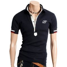 DOUBLJU Mens Casual Polo Short Sleeve T-shirt (089D)