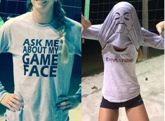 Volleyball Tshirt inside out with a volleyball face
