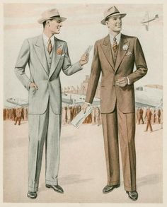 Christopher Salmon: Mens Daywear 1940s. A wedge shaped sihoulette was popular for mens suits during the late 1930s and early 1940s. The fashion didn't change much due to the war. The long suit jackets and broad shoulders along with a moderate waist was popular as pictured above. The fedoras of this time became more wide brimmed.