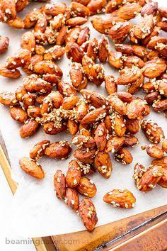 Maple Sesame Almonds (V+GF): An easy recipe for skillet-roasted maple sesame almonds made with just 6 ingredients. #Vegan #GlutenFree   BeamingBaker.com