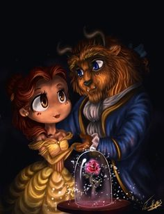 artist: Beauty and the Beast. Belle and The Beast (Prince Adam). how cute is this? Arte Disney, Disney Art, Beauty And The Beast Wallpaper Iphone, Belle And Adam, Chibi Disney, Beauty And The Best, Belle Beauty And The Beast, Beauty Beast, Disney Wallpaper