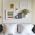 DIY Pegboard Headboard - cover up ugly wall color or wallpaper walls with a hug pegboard installation {Kid Crave}