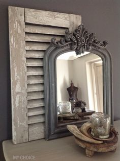 The Paper Mulberry: Essentially French! Paper Mulberry, Shutter Decor, Vintage Shutters, Beautiful Interiors, Modern Rustic, Home And Living, Living Room, Painted Furniture, Home Accessories