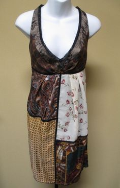 BURNING TORCH 100% Recycled Scarves Dress - Size M #Sundress #Casual