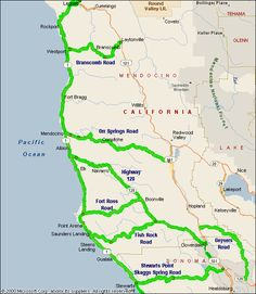 Map Highway 1 Northern California Motorcycle Roads