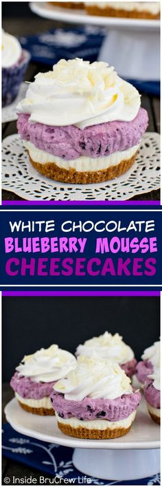White Chocolate Blueberry Mousse Cheesecakes - layers of crunchy cookies, creamy cheesecake, & fluffy mousse create a fun no bake dessert that everyone will love. Great recipe for holiday parties!(Fluffy No Baking Cheesecake) Mini Desserts, Chocolate Desserts, No Bake Desserts, Easy Desserts, Baking Desserts, Chocolate Muffins, Chocolate Bars, Holiday Desserts, Healthy Desserts