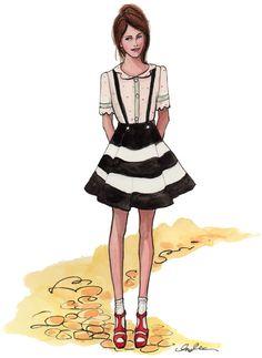 Inslee Haynes Fashion Illustrations. #inslee haynes, #fashion illustration, #stripes