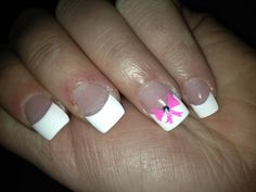 French tip with pink bow. So cute!