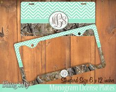 Mint Chevron Camo Monogram License Plate Frame Holder Metal Wall Sign Tags Personalized Custom Vanity Plate