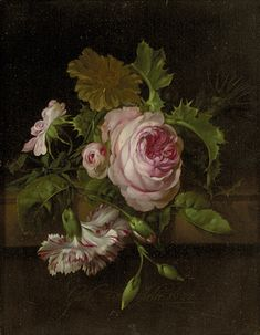 Willem van Aelst (1627 - in or after 1683)    Still Life of Flowers    A435; oil on canvas; 32 x 26 cm    Signed and dated: Guillmo va. Aelst 1677