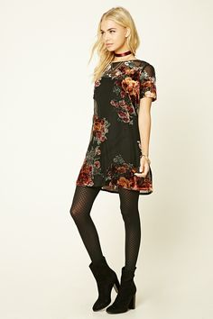 A semi-sheer mini dress featuring a knit mesh overlay with velvet floral appliques, a removable cami dress underlayer, round neckline, short sleeves, and a button keyhole back. Vestido Forever 21, Velvet Shorts, Velvet Cami, Semi Formal Outfits, Winter Fashion Outfits, Fashion Dresses, Black Velvet Dress, Prom Dresses 2017, Nylons