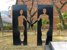peace statue in Nagasaki, Japan