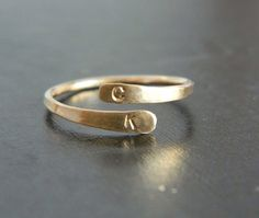 Initial Cuff Gold Ring, Gold Bar Ring, Mother's day Gift, Adjustable Gold Ring on Etsy, $46.00