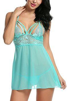 cffc098ee8c Bluetime Women s Halter Lingerie Mesh Babydoll Chemise Lace Sleepwear G  String at Amazon Women s Clothing store