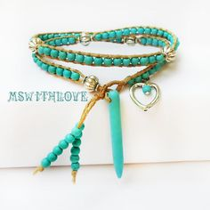 Gypsy turquoise wrap bracelet blue tusk wrap by MSwithlove on Etsy