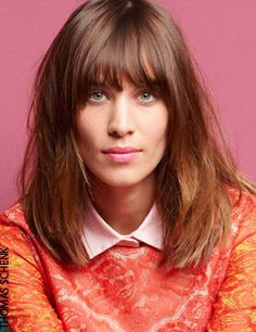 Alexa Chung - Elle March 2012, lace top over a light pink button-down