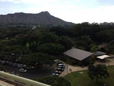 View from new apartment; Honolulu Zoo and Diamond Head