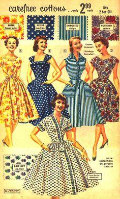 Carefree Dresses, 1950's.. blue polka dots