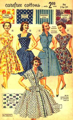 Carefree Dresses, 1950's.. blue polka dots