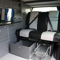 VW T5 Campervan Conversion, Smev 9222, Waeco CR-50 cool idea for under seat storage