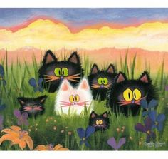 HERD OF KITTIES Matted Print by CrankyCats on Etsy, $24.00