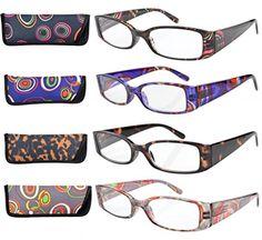 186722ad48dd 4-Pack Beautiful Colors Spring Hinge Rectangular Reading Glasses +3.50