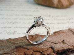 MS6581 Solitario en oro blanco y brillantes -:-:-:- White gold diamond solitaire ring by martosjoyeros.com