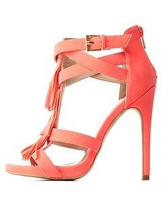 T-Strap Fringe Dress Sandals: Charlotte Russe #CRshoecloset #heels