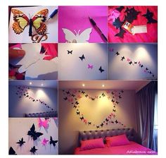 Shaped Arrangement Of Fluttering Paper Butterfly 3d Mural Accent Wall