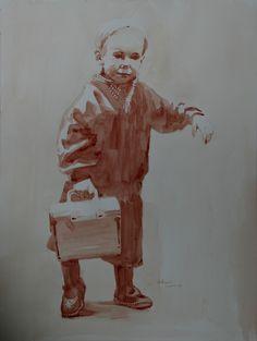 """""""the box"""" peint avec mon propre sang sur papier aquarelle. painted with my own blood on watercolor's paper 46x61 jb©"""