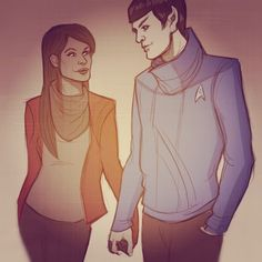Spock only smiles for Uhura - spock-and-uhura Fan Art