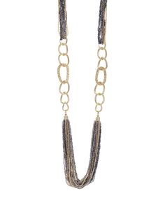 Look at this Gray & Goldtone Seed Bead Layered Chain Necklace on #zulily today!