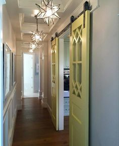 Love the door in hallway. ..looks nicer than pocket doors
