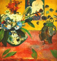 Paul Gauguin ~ Still Life with Head-Shaped Vase and Japanese Woodcut (detail), 1889