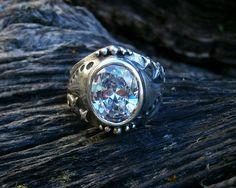 Silver artisan ring with big oval cz - Ocean Soul - Fia Fourie Juwele
