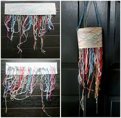 Yarn Hanging inspired by Extra Yarn by Mac Barnett and illustrated by Jon Klassen. Great for using up colorful yarns scraps!