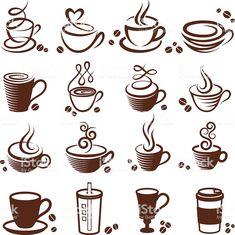 """Uma xícara de café """"royalty free vetor branco, vector Conjunto de ícones ilustração de uma xícara de café royalty free vetor branco vector conjunto de ícones e mais banco de imagens de beber royalty-free"""