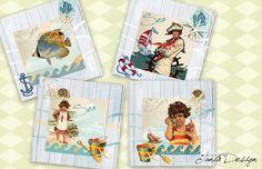 Blue Sea Digital Collage Sheet 4 x4 inch Printable от TaniaDesign, $4.10