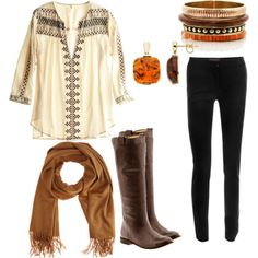 casual fall outfit- boots, scarf, drapey blouse I really like that shirt How To Have Style, Style Me, Passion For Fashion, Love Fashion, Womens Fashion, Ladies Fashion, Fall Outfits, Cute Outfits, Vogue