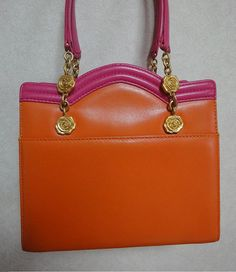 Vintage Ungaro pink and orange leather purse with gold by eNdApPi