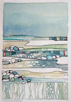 Waters Edge, Original Watercolor painting by Shell Rummel, Watercolor Landscape, Abstract Watercolor, Watercolor And Ink, Landscape Art, Landscape Paintings, Watercolor Paintings, Landscapes, Watercolours, Watercolor Artists