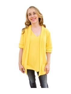 Sunshine Yellow Shawl Collar Sweater Cardigan with Short Sleeves