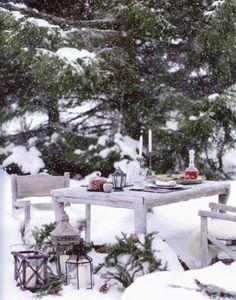 Christmas snow.. Celebrating outside