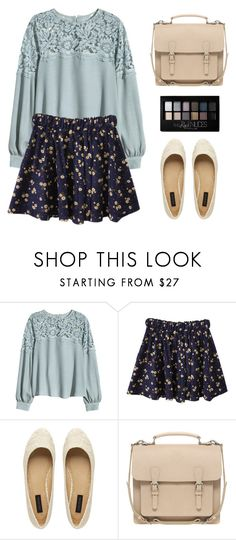 """Imagine"" by wildfawn ❤ liked on Polyvore featuring H&M, Forever New, Pieces, Maybelline, outfit, floral, Blue, girly and floralprint"