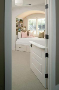 Genius! half door for any baby/kids room so you can hear if they wake, but they can't wander the house alone or play in their room while you cook, shower, clean.