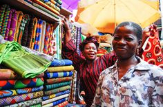 Postcard: Ankara vendors at Balogun Market, Lagos - http://www.lolaakinmade.com/photo/postcard-ankara-vendors-at-balogun-market-lagos/