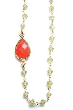Meaningful Carnelian Jewelry, Yoga Carnelian Necklace: Inspirational Carnelian Peridot Necklace Jewelry.