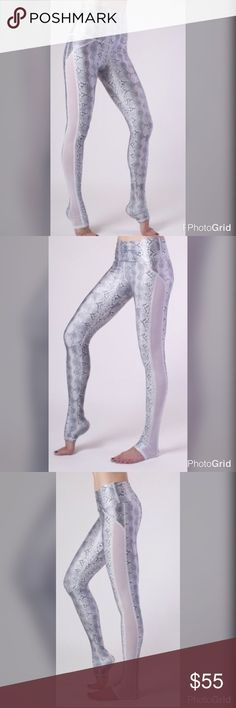 "White Python Mesh Leggings 🔴FIRM PRICE🔴 These 🔥leggings have the quality of your top name brands with a unique design. Made in the USA 🇺🇸! 4-way stretch, seamless high waist can also be folded over, moisture-wicking and quick-drying. Made out of 82% polyester, 18% Spandex, inseam approx 31"". I will post real-time photos once mine are washed, had to test them out. 😊 Emily Hsu Designs Pants Leggings"
