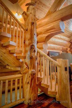 log homes, log stairs, log floors, pioneer log homes