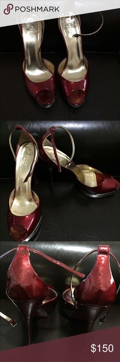 "Gucci ""Jerry"" Platform Sandals Great condition! Still in box. This style is from the Tom Ford era at Gucci. Dark Red glitter patent leather. Platform is gold. 4.25"" heel. 1"" platform Gucci Shoes Sandals"